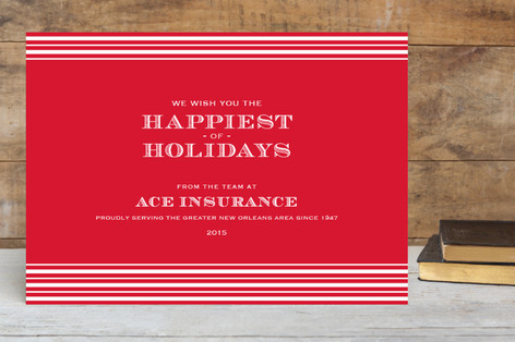 Classic Stripes Business Holiday Cards