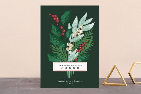 Holiday Pine Bouquet Business Holiday Cards