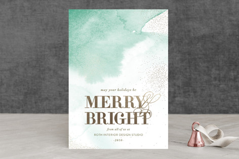 Airy Watercolor Business Holiday Cards