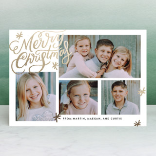 Collage Shimmer Script Foil-Pressed Holiday Petite Cards