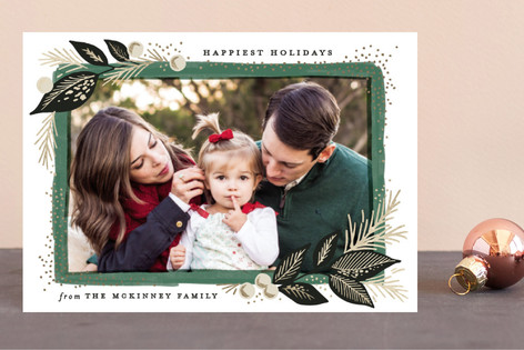 Branch painted frame Foil-Pressed Holiday Petite Cards