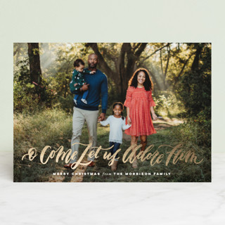 O Come Let Us Adore Him Foil-Pressed Holiday Petite Cards