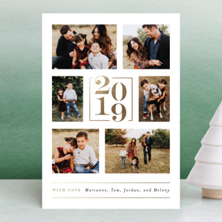 Engraved Numerals Foil-Pressed Holiday Petite Cards