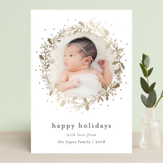 Holly Jolly and Bright Foil-Pressed Holiday Petite Cards