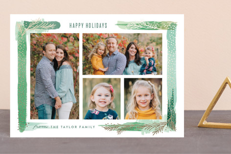 Paint Swash Pine Border Foil-Pressed Holiday Petite Cards