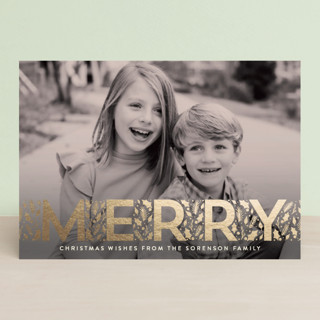 Merry Little Leaves Foil-Pressed Holiday Petite Cards