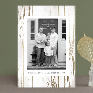 Gilded Woodgrain Foil-Pressed Holiday Petite Cards