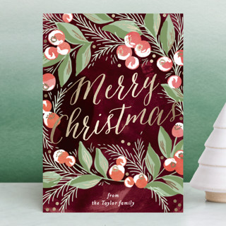 winter berries Foil-Pressed Holiday Petite Cards