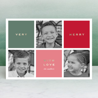Preppy Blocks Foil-Pressed Holiday Petite Cards