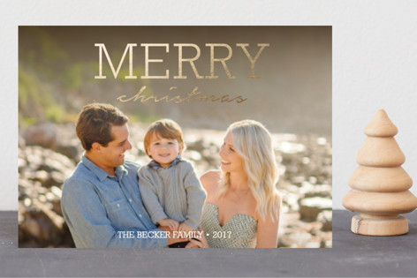 Modern Rustic Foil-Pressed Holiday Petite Cards