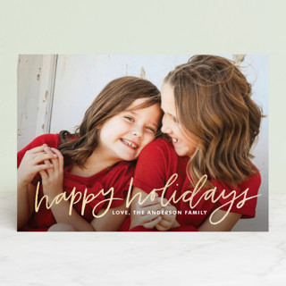 Hand Lettered Happy Foil-Pressed Holiday Petite Cards