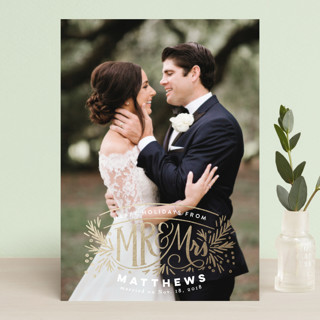 Mr and Mrs Pine Crest Foil-Pressed Holiday Petite Cards