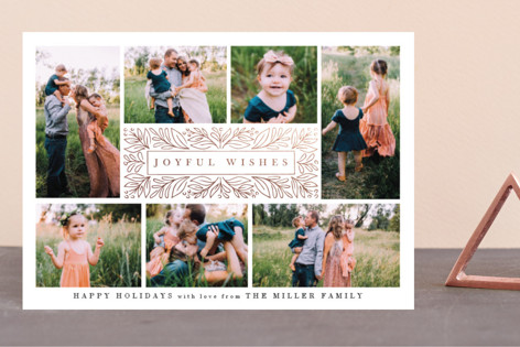 Framed Joyful Wishes Foil-Pressed Holiday Petite Cards