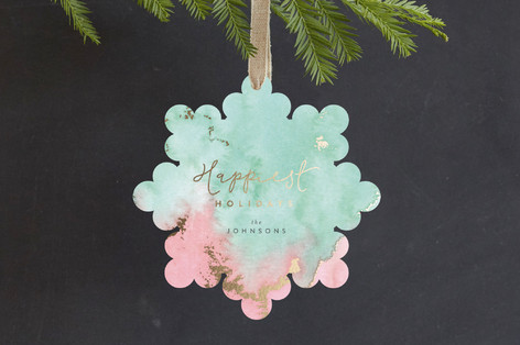 Shimmering Holidays Foil-Pressed Holiday Ornament Cards