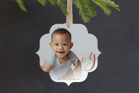 Arched Joy Foil-Pressed Holiday Ornament Cards