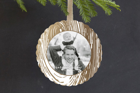 Wood Slice Foil-Pressed Holiday Ornament Cards