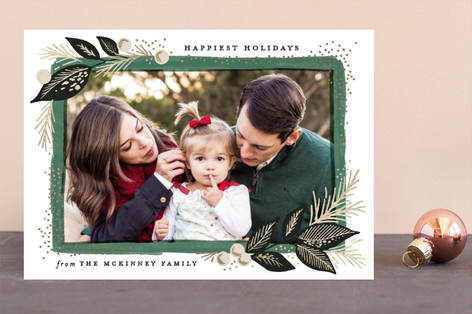 Branch painted frame Foil-Pressed Holiday Cards