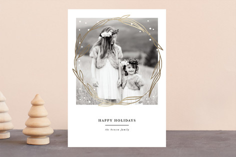 wreath and snow Foil-Pressed Holiday Cards