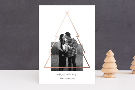 Minimal Christmas Tree Foil-Pressed Holiday Cards