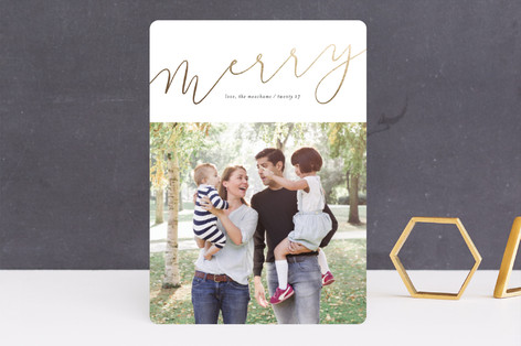 gold merry Foil-Pressed Holiday Cards
