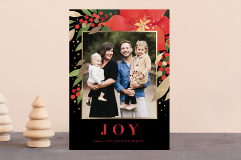 Red Poinsettia Foil-Pressed Holiday Cards