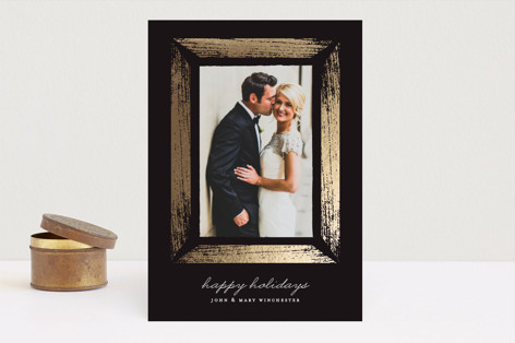 Gilded Wood Foil-Pressed Holiday Cards