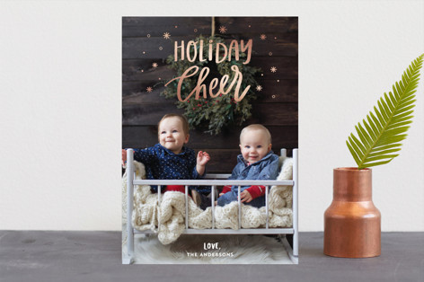 Snowing Holiday Cheer Foil-Pressed Holiday Cards