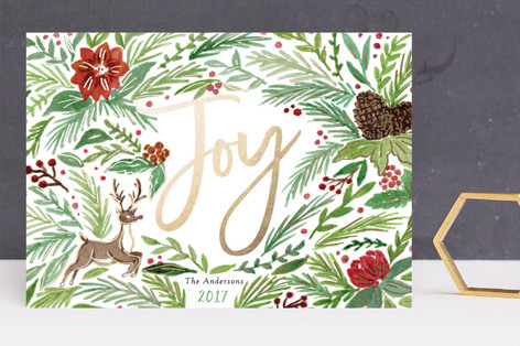 Holiday Spirit Foil-Pressed Holiday Cards