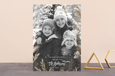 Wonderful Time Foil-Pressed Holiday Cards