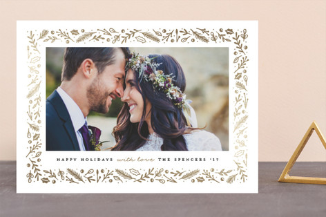Foliage Sparkle Foil-Pressed Holiday Cards
