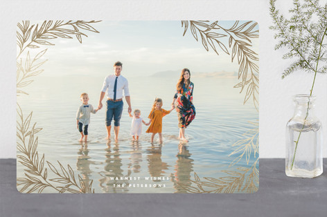 Gilded Laurel Foil-Pressed Holiday Cards