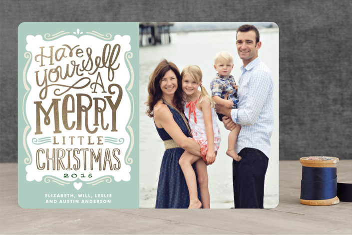 """""""Merry Typography"""" - Hand Drawn, Typography Foil-pressed Holiday Cards in Muted Green by Alethea and Ruth."""