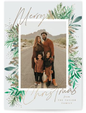 Yuletide Sprigs Foil-Pressed Holiday Cards