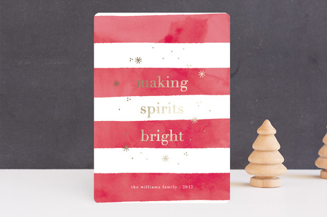 Bright Stripe Foil-Pressed Holiday Cards