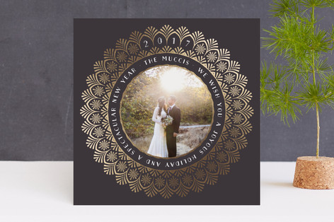 Art Deco Snowflake Foil-Pressed Holiday Cards