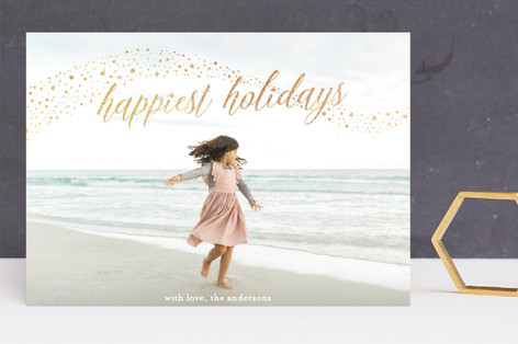 shimmery happy holidays Foil-Pressed Holiday Cards