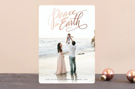 Script Peace on Earth Foil-Pressed Holiday Cards