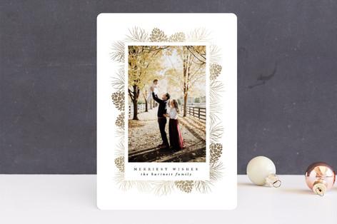 Gilded Pine Frame Foil-Pressed Holiday Cards