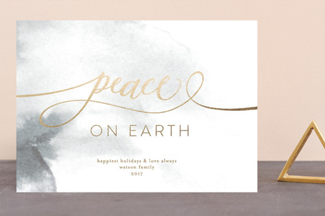 peace on earth marble Foil-Pressed Holiday Cards