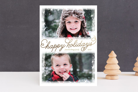 Frosted Frames Foil-Pressed Holiday Cards
