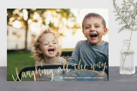 Laughing All the Way Foil-Pressed Holiday Cards