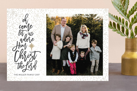 oh come let us adore him Foil-Pressed Holiday Cards