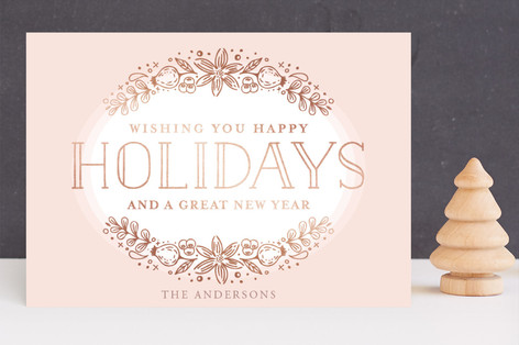 happy rosé holidays Foil-Pressed Holiday Cards