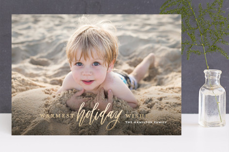 Wish for Warm Holidays Foil-Pressed Holiday Cards