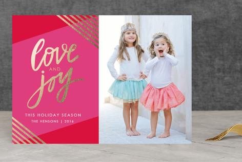 Golden Love & Joy Foil-Pressed Holiday Cards