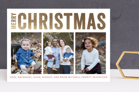 Merry Triptych Foil-Pressed Holiday Cards