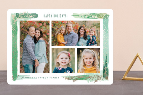 Paint Swash Pine Border Foil-Pressed Holiday Cards