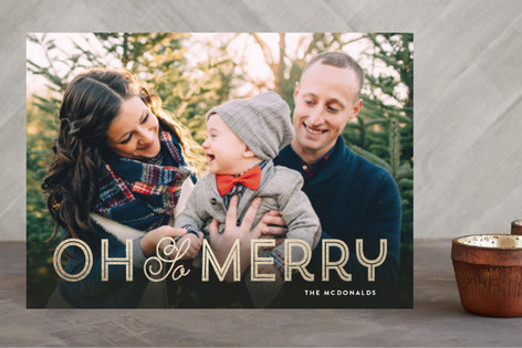 Merry Stripes and Curls Foil-Pressed Holiday Cards