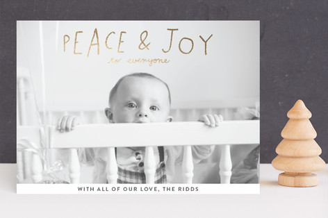 Hand Lettered Peace and Joy Foil-Pressed Holiday Cards