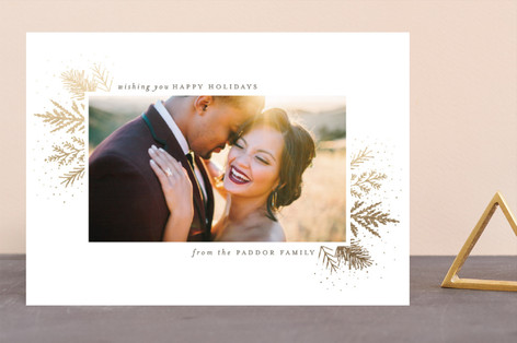 wintry sprigs Foil-Pressed Holiday Cards
